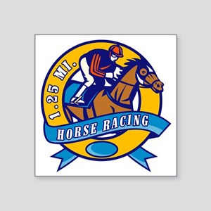 "horse jockey race racing ci Square Sticker 3"" x 3"""